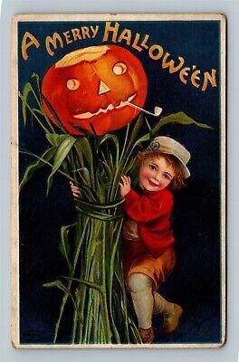 HALLOWEEN Vintage Signed Ellen Clapsaddle IAP Postcard Jack-O-Lantern Pipe Boy