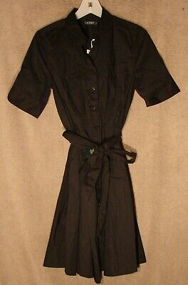 NWT Black Shirt Dress Cotton Dress from Ralph Lauren, Size 8 Petite