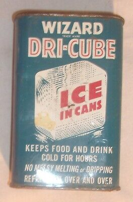 Dry Ice Cubes (VINTAGE WIZARD DRI CUBE ICE IN CANS IN GOOD CONDITION WITH SOME LIGHT)