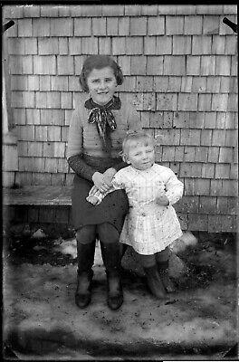 Porträt 2 Kinder Kleines Mädchen und Baby Antik Negativ Foto Gläser An. 1940