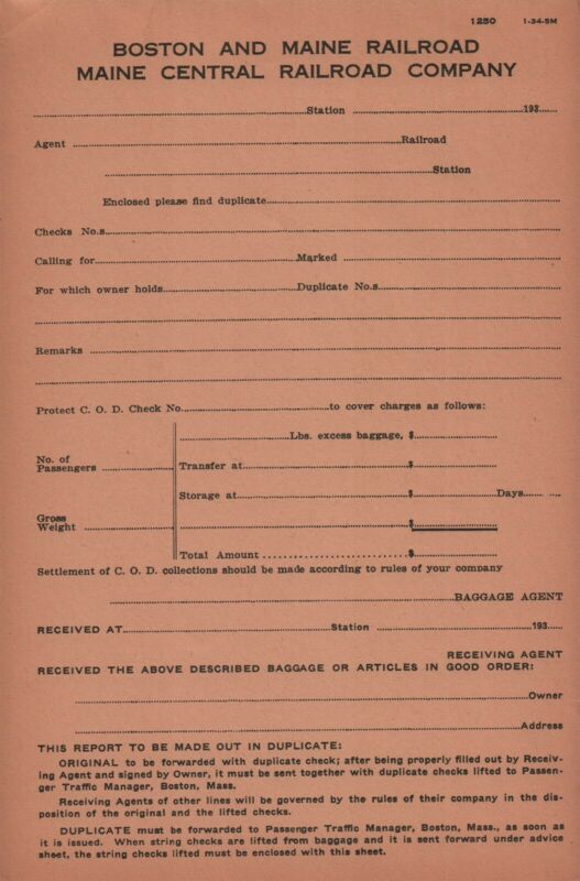 Boston And Maine Railroad Original Vintage Baggage Form 1250 1-34
