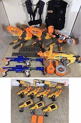 HUGE RARE NERF LOT 15 HEAVY GUNS Elite Rhino Fire Vulcan Stampede Raider TESTED