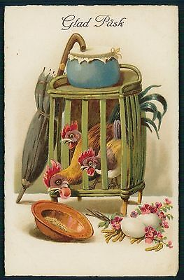 Art Chicken Rooster Hen Cage Easter original fantasy old 1920s photo postcard