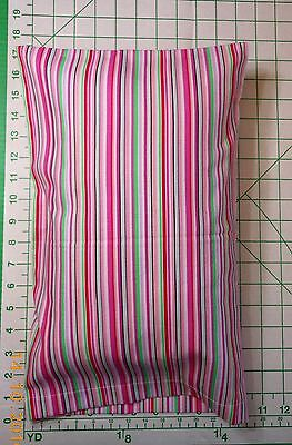 STRIPES with pink and green -  small Pillow Case & 1 WHITE Travel Pillow ()