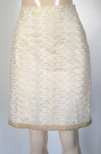 Banana Republic 4 Cream Metalic Gold Sparkle Knee Length Straight Pencil Skirt
