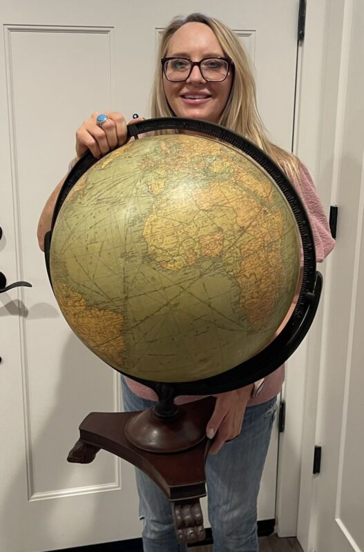 """Antique Vintage 1920s Replogle 16"""" World Library Globe & Claw Foot Stand"""