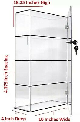 Clear Acrylic Counter Display Case Locking Cabinet With Fixed Shelving