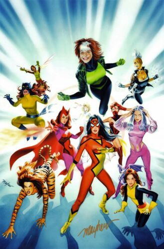 MIKE MAYHEW SIGNED MARVEL HEROINES COLOR PRINT-FREE SHIPPING!