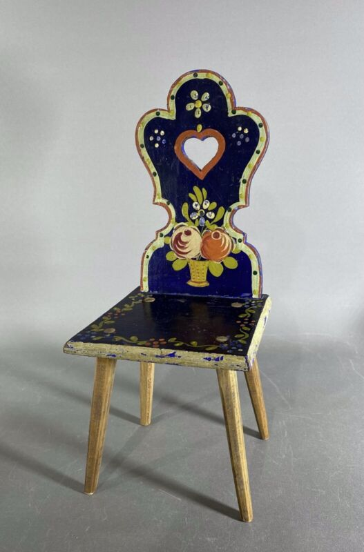 Antique Scandanavian Painted DOLL SIZE Chair