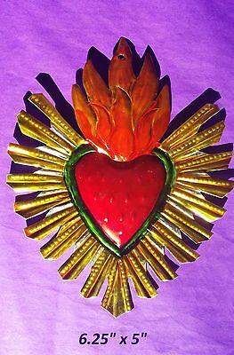 "Sacred Heart Mexican Handmade Painted Tin Milagro Style Art 6.25""x5"""