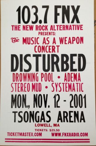 ORIGINAL DISTURBED LETTERPRESS TOUR POSTER LOWELL TSONGAS ARENA 2001 ONLY 100