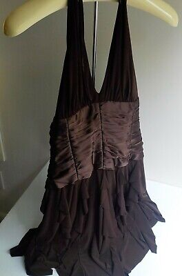 VTG SCOTT MCCLINTOCK Brown Crinkle Taffeta Halter Dress SZ 10P