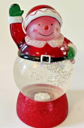 "Hallmark Snowman Candy Cane Snow Globe Color Changing Light Glitter Motion 8"""