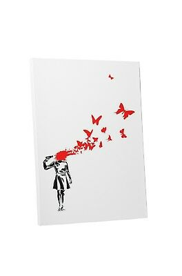 Banksy Suicide Butterflies Gallery Wrapped Canvas Print. BONUS WALL DECAL!