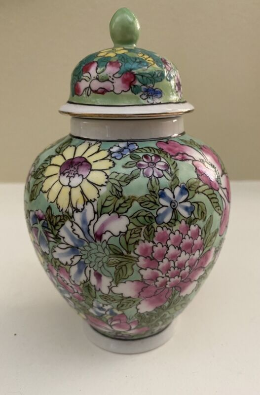 Vibrant Hand Painted Flowers Green Multicolored Ginger Jar With Lid