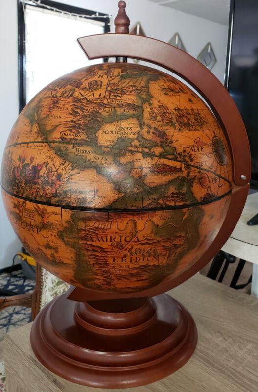 """Italian Bar Globe World Map Desk/Table Top Minibar Made In Italy 20"""""""