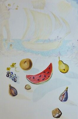 """SALVADOR DALI """"SHIP AND FRUITS"""" HAND NUMBERED signed 2057/2500 LITHOGRAPH"""