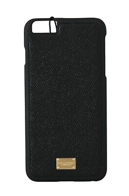 NEW $180 DOLCE & GABBANA Phone Case Black Dauphine Leather Logo iPhone6 Plus
