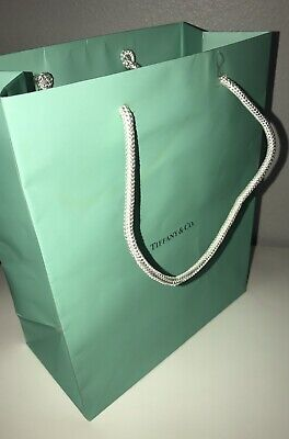 "Tiffany & Co. Medium Blue Paper Shopping Gift Bag 9.5"" x 8"" x 4"" AUTHENTIC!"