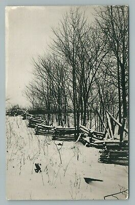 Split Rail Fencing (Split Rail Fence in Snow—Indianapolis Area? RPPC Antique Photo—Christmas)