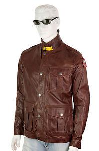 Parajumpers-Lincoln-verano-chaqueta-campera-de-cuero-distressed-Leather-talla-L-marron-oscuro