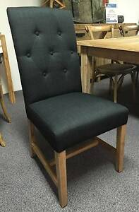 Tiffany Top Quality Linen Fabric Dining Chair Black/Beige O'Connor Fremantle Area Preview