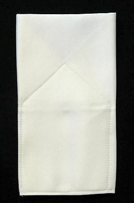POCKET SQUARE Ivory Satin Flat Top CUSTOM Prefolded & Sewn - just slip in pocket