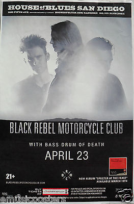BLACK REBEL MOTORCYCLE CLUB / BASS DRUM OF DEATH 2013 SAN DIEGO CONCERT POSTER