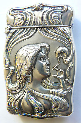 Vintage Sterling Silver Matchbox Match Safe Smoking Lady Begining XXc