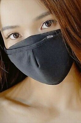 ANTI-FOG Black Washable Reusable Triple Layer NEW Fabric Face Mask