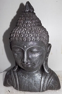 Bust of Buddha in Conglomerate Silver cm 30hx20x10 Buddha Divinity Statue