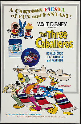 THE THREE CABALLEROS original 27X41 DISNEY one sheet movie poster DONALD DUCK