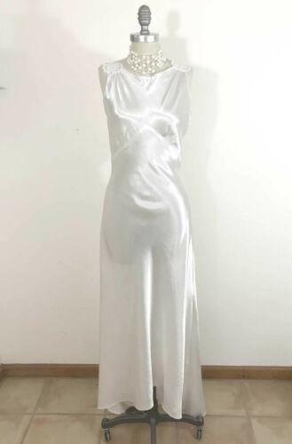 VTG 1930s White Satin Wedding Dress Slip Dress Nightgown Bias Cut Lace Straps XS