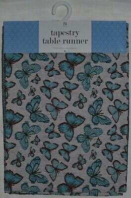 Table Runner~Tapestry~Blue Butterfly~Spring Butterflies~Ivory~Brown~NEW](Spring Table Runners)