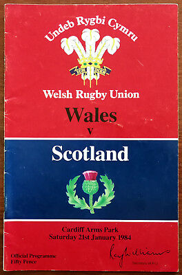 Welsh Rugby Union Wales v Scotland 21st January 1984 Programme