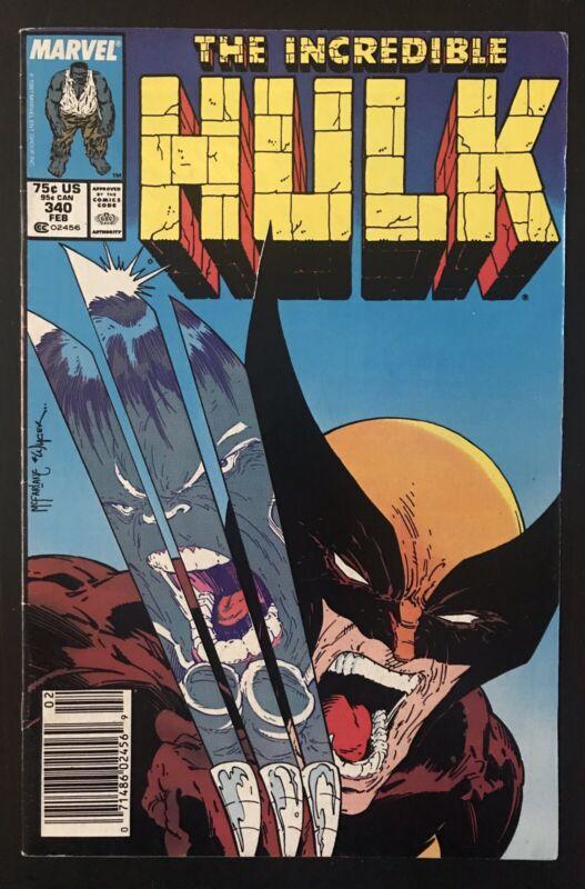 Hulk #340 1988 Newsstand Variant Marvel Comic Book  Wolverine