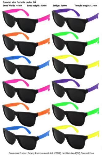 12 Pack Kids Size Neon Sunglasses w/CPSIA certified-Lead(Pb) Content Free 9402R