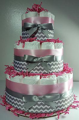 3 Tier Diaper Cake -  Pink Silver/White Chevron- Girl Baby Shower Centerpiece Diaper Cake Shower