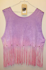 Vintage-Pink-Dip-Tie-Dye-Fringe-Tassle-Top-Vest-Studded-Spike-Festival-crop-tee