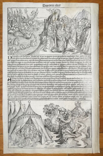 Incunable Leaf Schedel Liber Chronicorum Woodcut Moses Pharaoh Commandments 1493