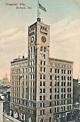 1908 Oregonian Building  Clock Tower  Portland  Or Tinted Postcard