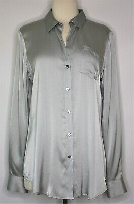 Theory Grey Silver Mist Regular Fit Silk Button Up Top Long Sleeves Size L