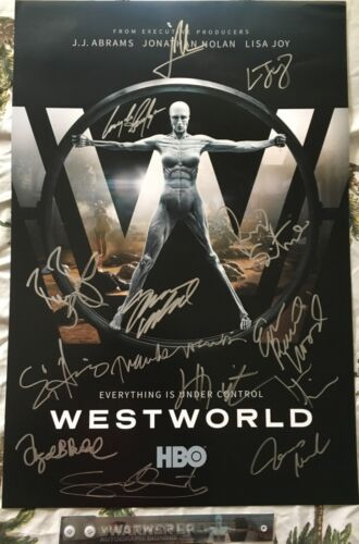 Westworld cast signed 2017 SDCC poster Ed Harris Jeffrey Wright Evan Rachel Wood