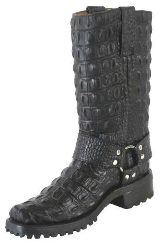 Mens, Crocodile, Alligator, Back, Design, Biker, Cowboy, Western, Boots, Black, Square