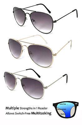 SMALL Aviator Progressive Reading Sunglasses Metal Frame 3 Strengths in 1 (Small Frame Aviator Sunglasses)