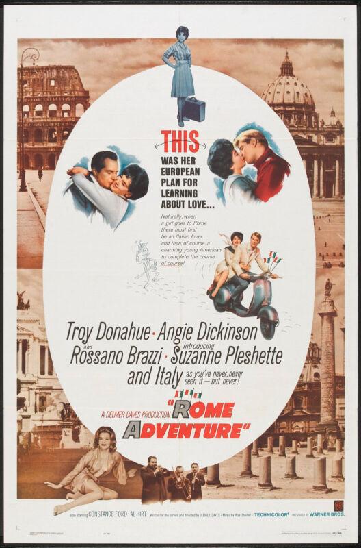 PIAGGIO VESPA SCOOTER original 1962 movie poster ROME ADVENTURE/ANGIE DICKINSION