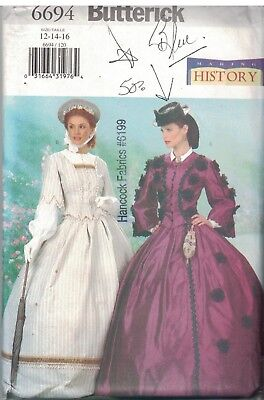 6694 UNCUT Butterick SEWING Pattern Misses Civil War Gone with the Wind Gown Top
