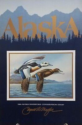1986 Alaska Duck Stamp Poster By James Meger   Conservation Print