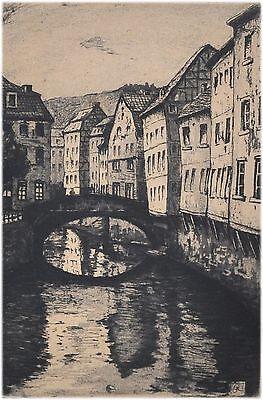Monschau Eifel - alte Radierung - sign. H. Ruland