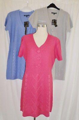 Langer Pullover Tunika Kleid mit Kabel Strick Detail Blau S-M 10-12 - Lange Kabel Pullover